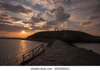 Sunset over Portara monument at Naxos island in Greece