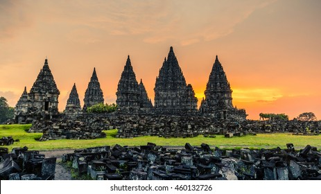 Sunset over Prambanan temple near Yogyakarta in Central Java, Indonesia