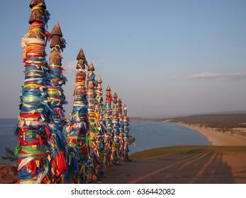 Sunset over prayer flags in Khuzir on Olkhon Island in Siberia