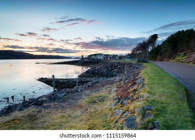 Sunset over the pretty village of Shieldaig in the remote highlands of Scotland