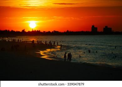Sunset over the public city Varadero beach in Cuba