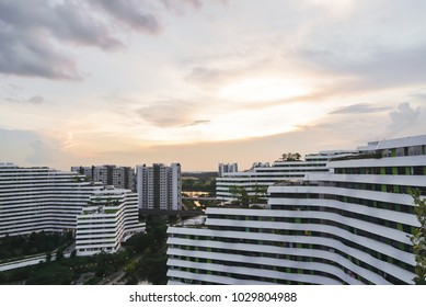 Sunset over Public Housing Apartments in Punggol, Singapore