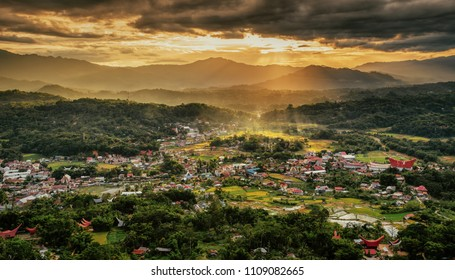 Sunset over Rantepao, a major town in Tana Toraja, South Sulawesi, Indonesia