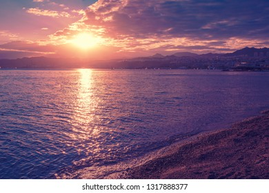 Sunset over Red sea. Eilat, Israel