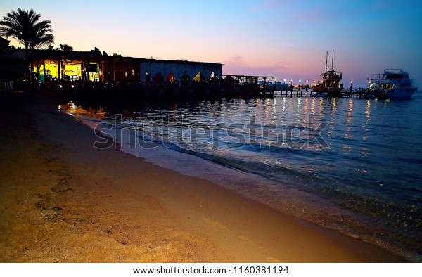 Sunset over Red Sea at Hurghada. Attractive holiday in Egypt.