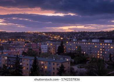 Sunset over residential area of Hloubetin, Prague