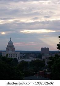 Sunset over the Rhode Island Statehouse, Providence, Rhode Island