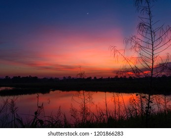 Sunset over the rice fields in Trat, eastern Thailand. Orange and red glow reflected in the water in foreground.