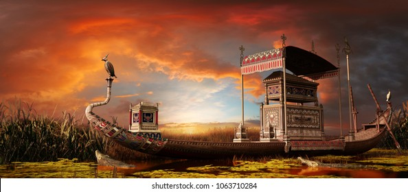 Sunset over river with egyptian funerary boat. 3D illustration.