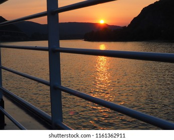 sunset over the river rhine