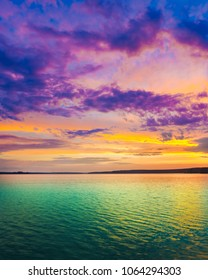 Sunset over the river in Russia. Amazing landscape