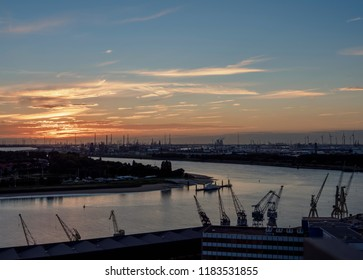 Sunset over the River Scheldt and Port of Antwerp, Belgium