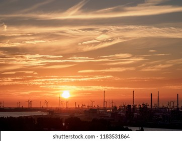 Sunset over the River Scheldt and Port of Antwerp, Belgium