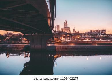 Sunset over river and skyline, Omaha, NE.