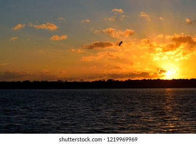 Sunset over the  river St. Augustine, Florida