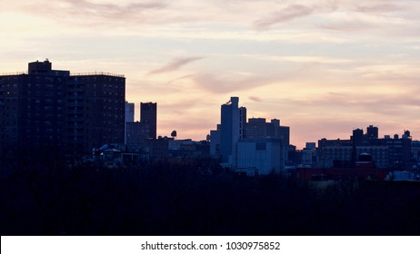 Sunset over the Rooftops of the East Village in Winter. New York. USA
