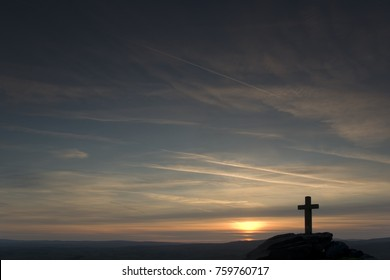 Sunset over Rylstone Cross on Rylstone Fell in the Yorkshire Dales, UK