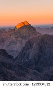 Sunset over sacred Mount Moses Sinai desert, Egypt