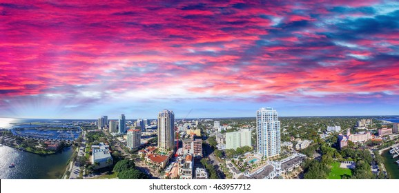 Sunset over Saint Petersburg, Florida - USA. Aerial view.