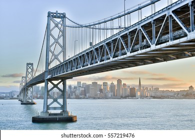 Sunset over San Francisco-Oakland Bay Bridge and San Francisco Skyline, California, USA