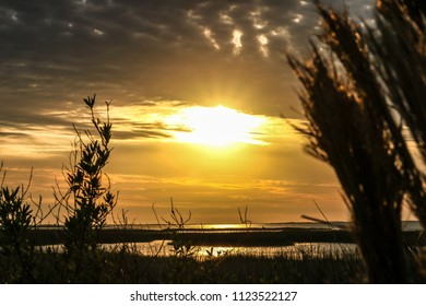 Sunset over San Luis Pass, Galveston, TX.