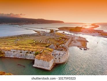 Sunset over Santa Maura - Agia Mavra Castle near Lefkada Town in Lefkada (Lefkas) Island Greece