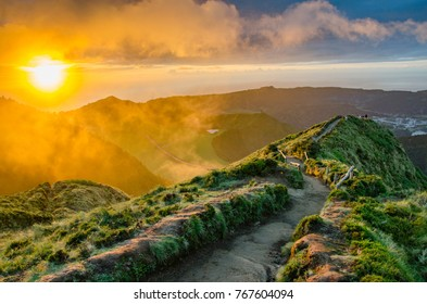 sunset over sao miguel