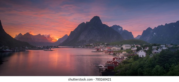 Sunset over scenic Reine Village, Lofoten Islands, Norway