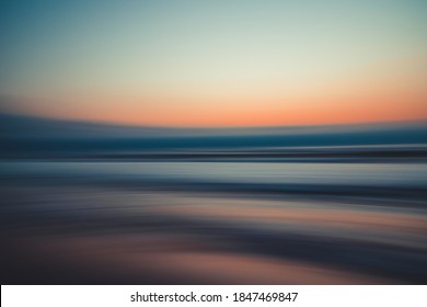 Sunset over the sea, abstract seascape background, line art, soft blur, water surface
