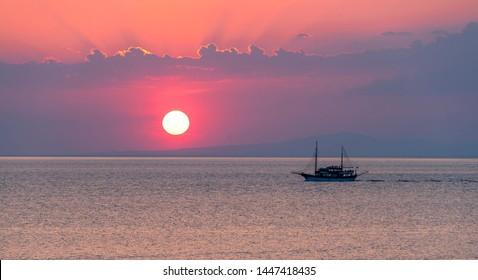 Sunset over sea. Aegean sea, Greece