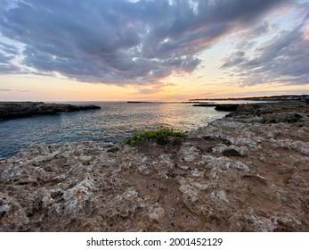 Sunset over the sea in Binisafuller , Menorca, Islas Baleares, Spain