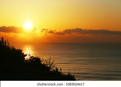 Sunset over sea in Chiba,Japan.