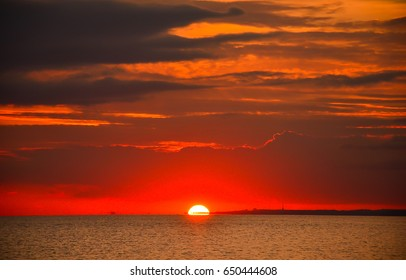 Sunset over sea landscape