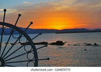 Sunset over the sea, Naxos island, Greece