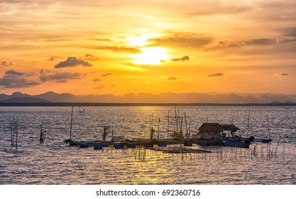 sunset over the sea raft float (sawi Chumphon Thailand)