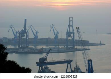 Sunset over the sea. Seaport Ancona in the Marche region in central Italy, 01 Nov 2014.