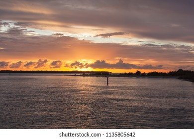 Sunset over the sea at Weipa, Queensland, Australia