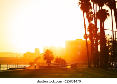 Sunset over the seafront of Long Beach, California