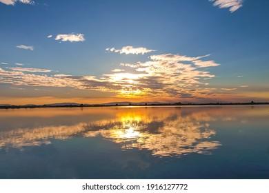 Sunset over the Senne fishponds, Slovakia