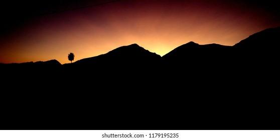 sunset over the serra de Tramuntana Mallorca