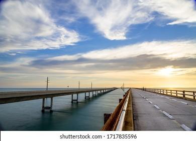 Sunset over the seven mile bridge