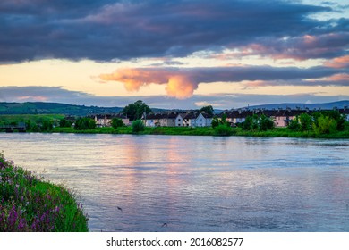 Sunset over the Shannon river in Limerick, Ireland
