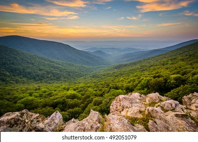 Sunset over the Shenandoah Valley and Blue Ridge Mountains from Crescent Rock, in Shenandoah National Park, Virginia.