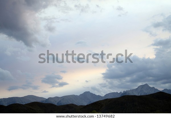 Sunset over the Sierra Nevada mountains from Owens Valley. Owens Valley is the arid ranching valley of the Owens River in southeastern California.