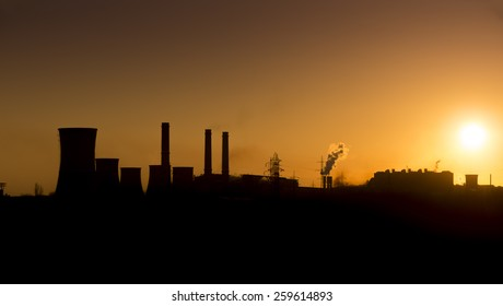 Sunset over the over the silhouette factory. ArcelorMittal Galati