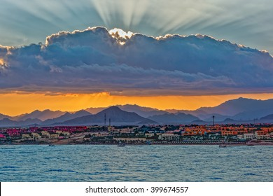 Sunset over Sinai mountains in Sharm el Sheikh, Egypt.