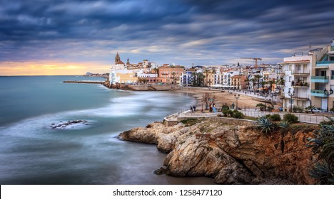 Sunset over Sitges, Catalunya, Spain. Sitges is a famous town near Barcelona, famous for it's nightlife and beaches. It is a gay friendly city.