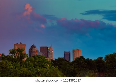 Sunset over the skyline of Columbus, Ohio.  This view is looking south from the north.