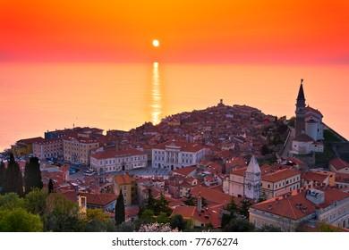 Sunset over the Slovenian Coast (Piran)