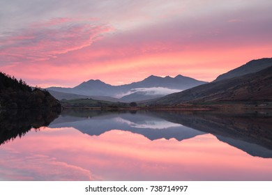 Sunset over Snowdon and Llynnau Mymbyr.